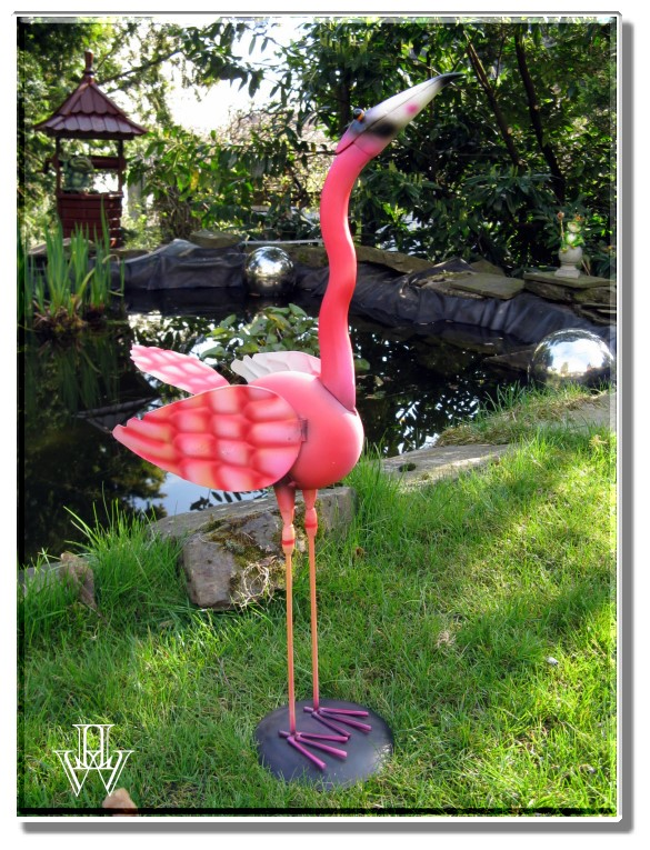 gro er deko flamingo aus metall garten vogel 52cm deko. Black Bedroom Furniture Sets. Home Design Ideas